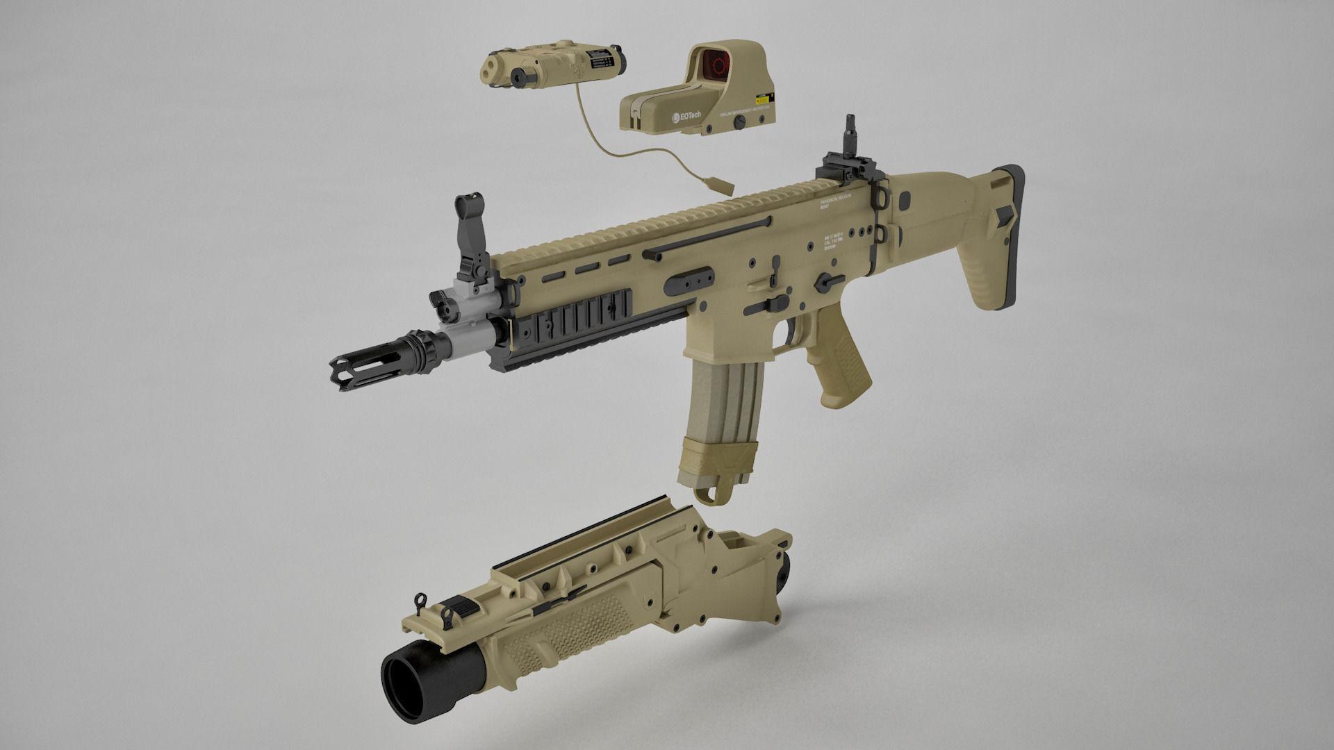 Combat Assault Rifle Fn Scar H 3d Model Max C4d Cgtrader Com