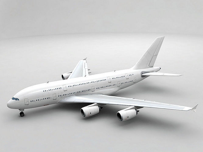airbus a380 airliner - generic white 3d model low-poly max obj 3ds dxf stl wrl wrz 1