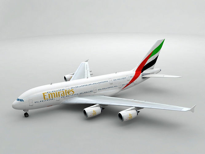 airbus a380 airliner - emirates 3d model max obj 3ds dxf stl wrl wrz 1