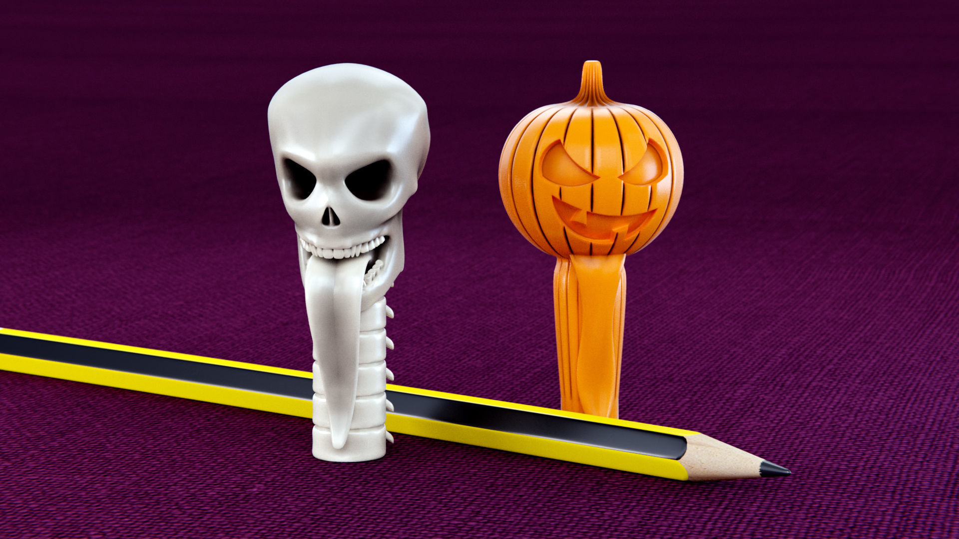Skull and Pumpkin Pencil Caps