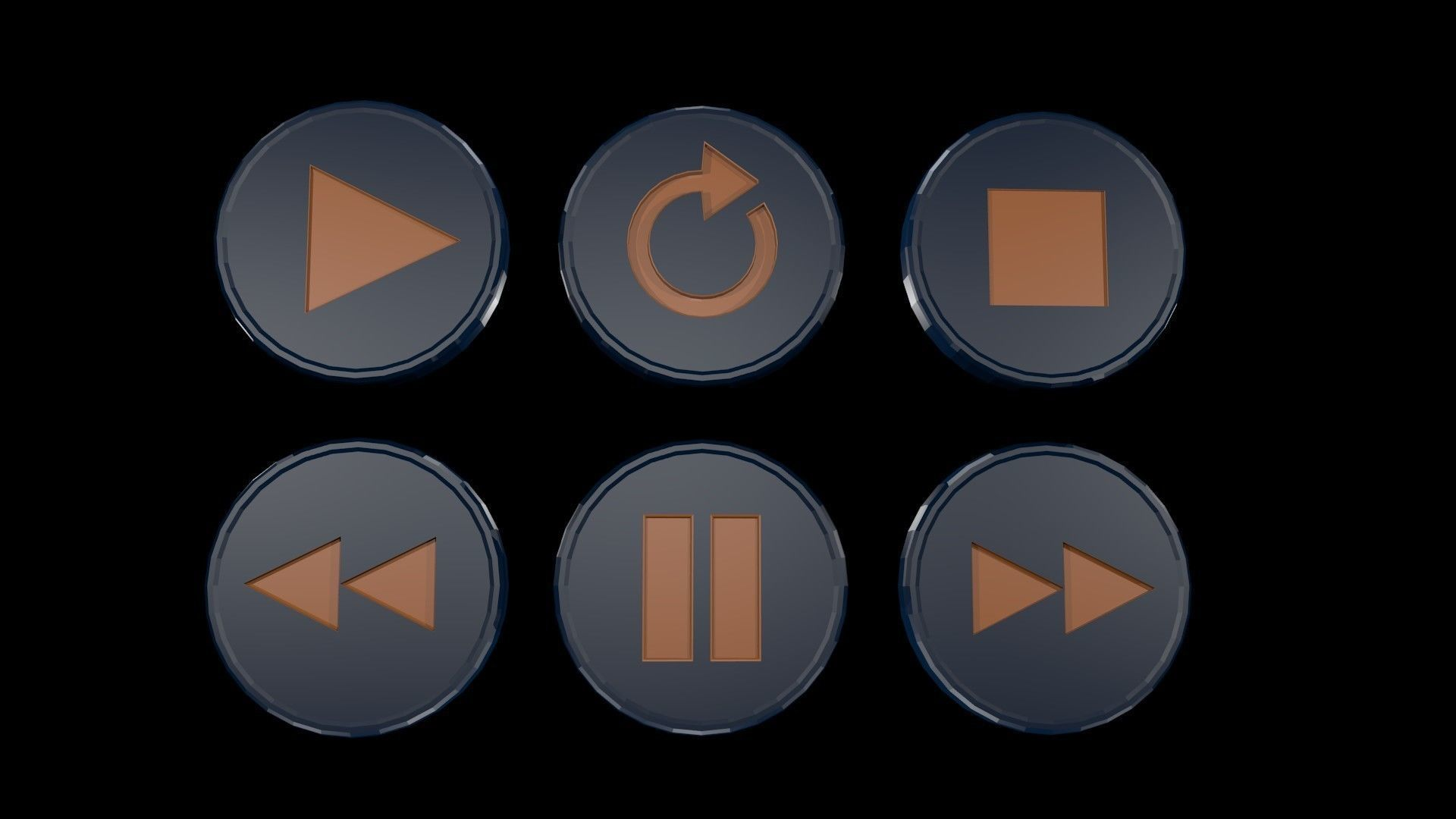 Low poly player buttons