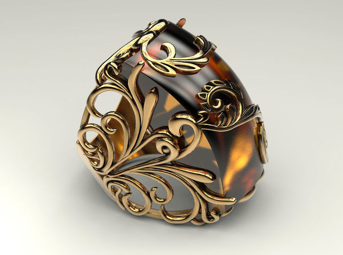 Ring With Amber Model Stl M 5