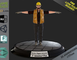 3D asset Worker1 Animations Pack