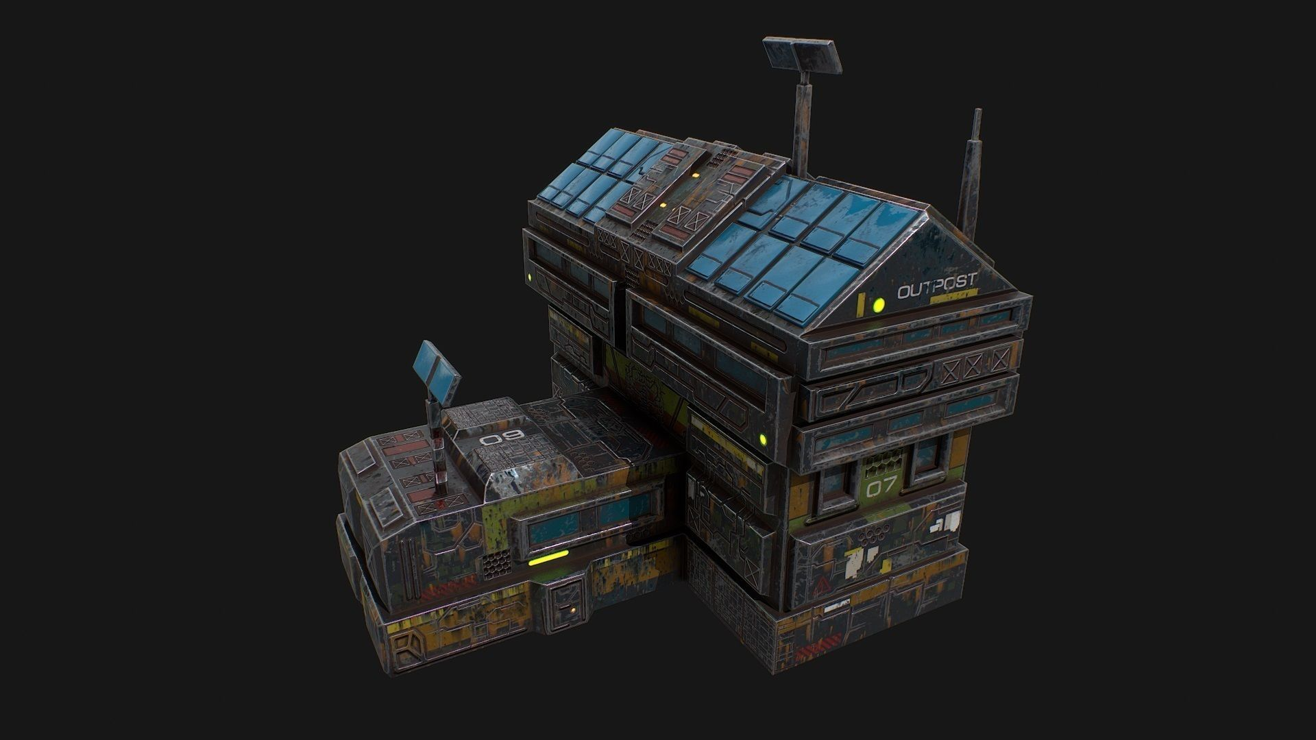 Low poly sci fi colonial outpost building