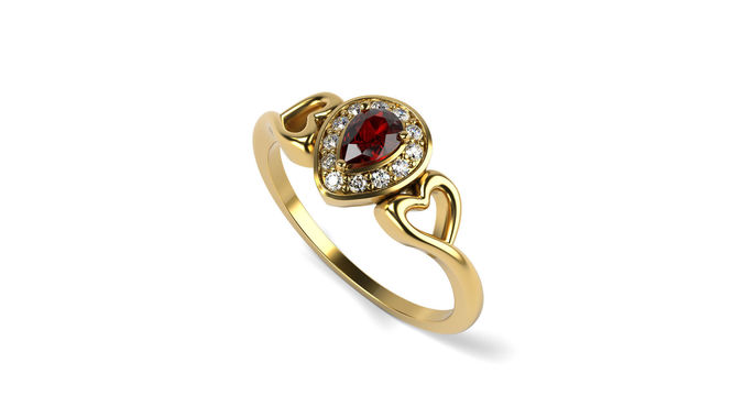 ruby diamond engagement-ring 3d model stl 1