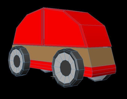 game-ready 3D Car lillabo lowpoly model