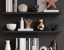 3D Sea decor with corals vases and books