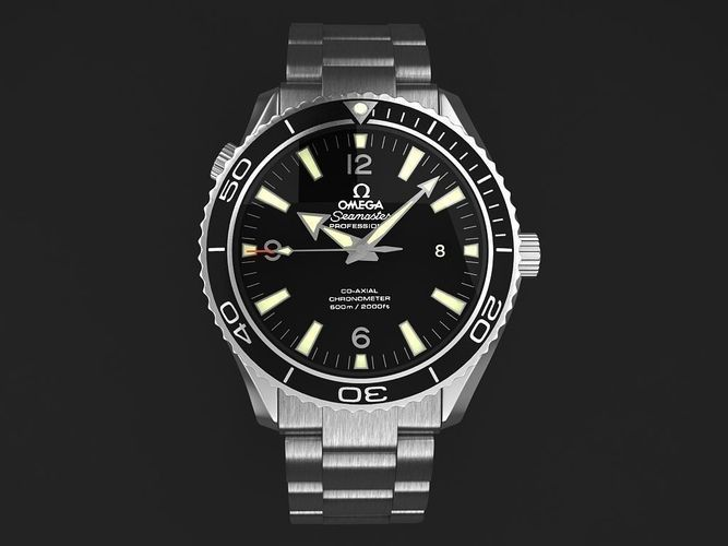 omega seamaster planet ocean steel braclet mens watch 3d model max obj mtl 3ds fbx c4d lwo lw lws 1