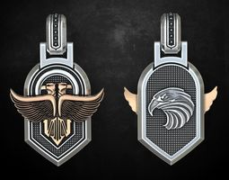 3D print model Stylish pendant with eagles 250