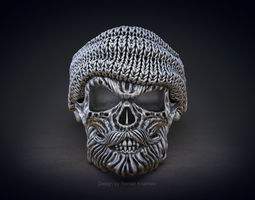jewellery Skull ring with beard 3d model for 3d printing