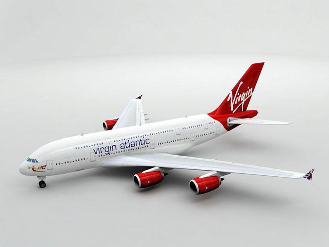 airbus a380 airliner - virgin atlantic 3d model low-poly max obj mtl 3ds dxf stl wrl wrz 1