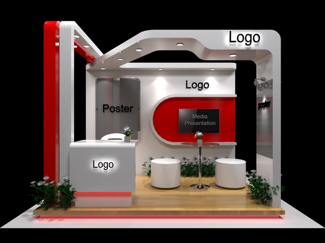 Exhibition Stand Items : Exhibition stand with fabrication d model cgtrader