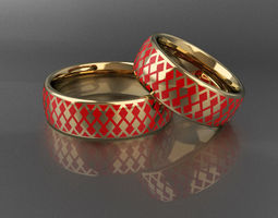 3D print model Wedding rings with enamel