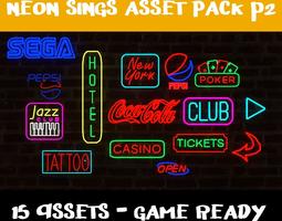 3D model Neon Signs p2 - 15 Assets