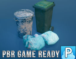 Refuse bins and bags of rubbish 3D asset