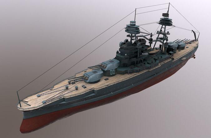 uss arizona battleship 3d model obj mtl fbx tga 1