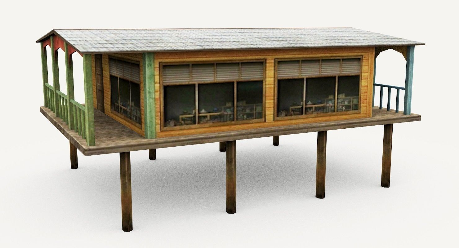 ... Wooden Water Hut 3d Model Low Poly Max Obj 3ds Fbx Mtl 8 ...
