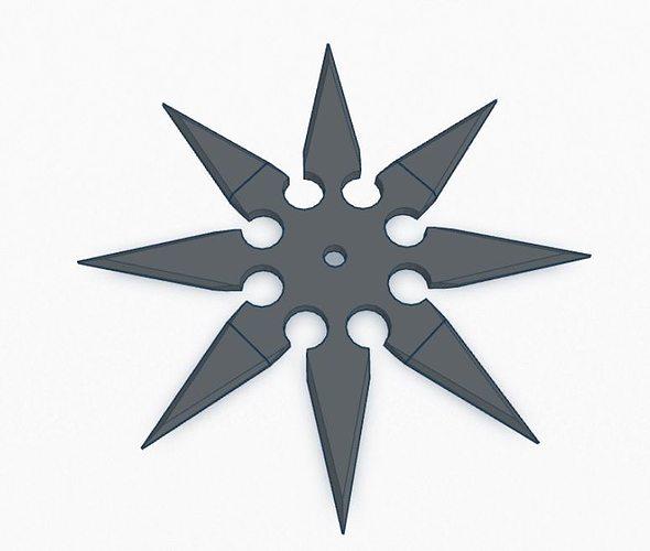 ninja star - 8 point  3d model stl 1