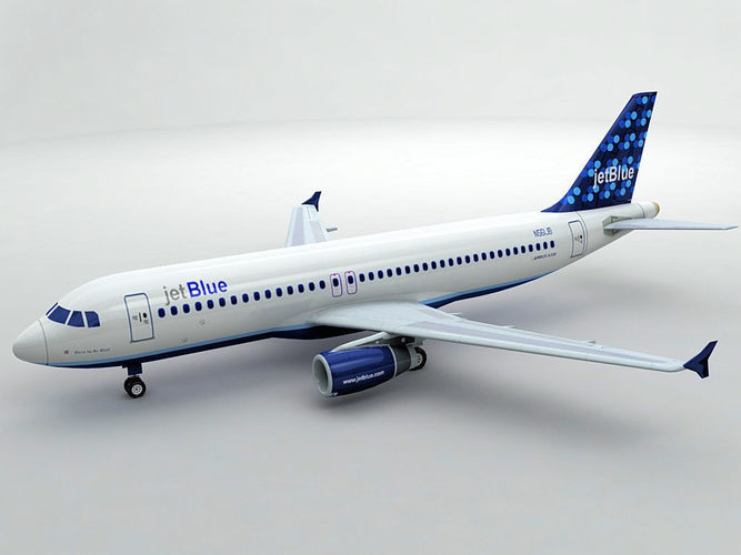 airbus a320 airliner - jet blue 3d model low-poly max obj 3ds dxf stl wrl wrz 1