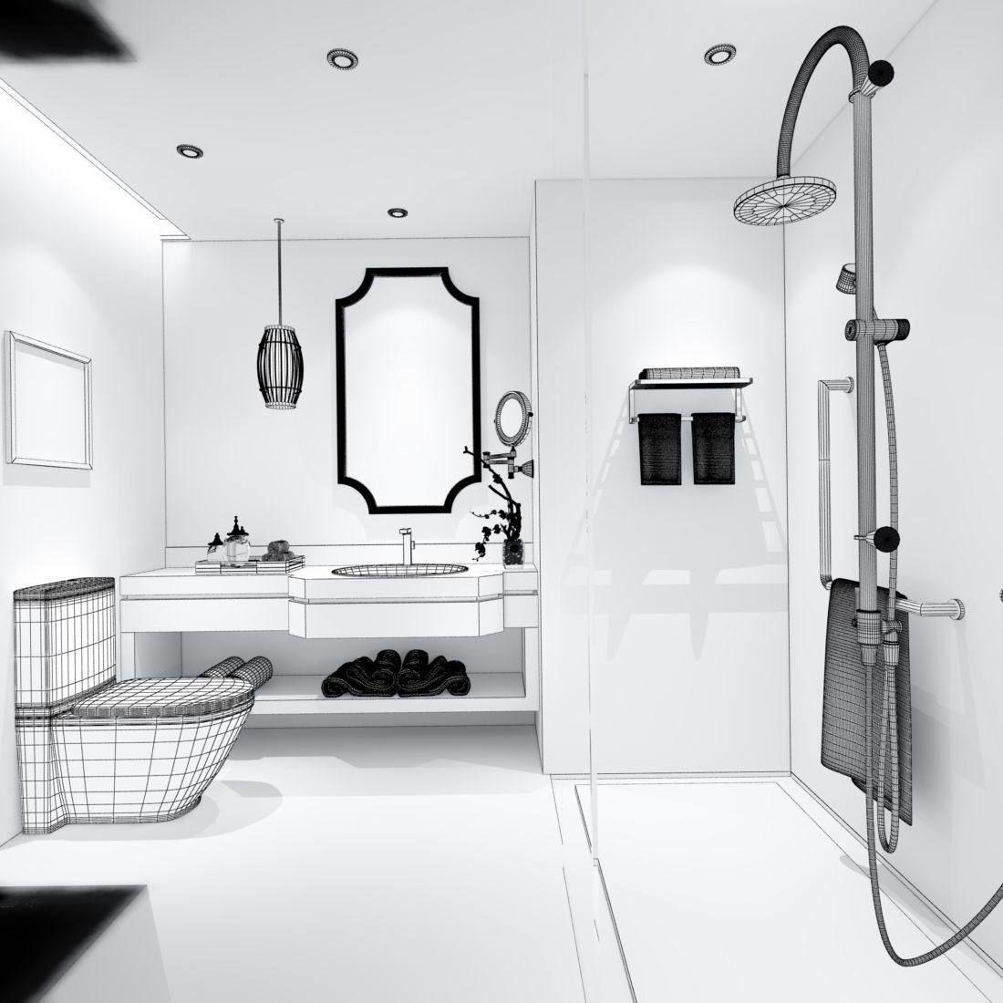 bathroom design complete model 71 3D | CGTrader