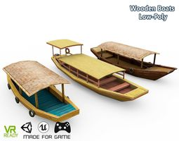 3D asset Wooden Roof Boats Low Poly