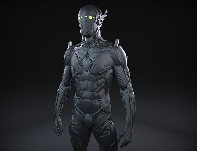sci-fi character 02 3d model obj ztl 1