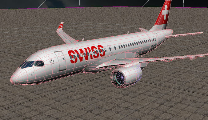 bombardier cseries cs100 3d model animated max obj mtl 3ds dwg 1
