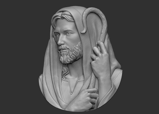 jesus the good shepherd pendant 3d model obj mtl stl 1