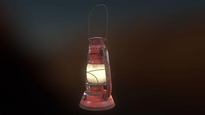 Low Poly Old Lantern Lamp Pbr 3d Model Obj 3ds Fbx Dae Tga