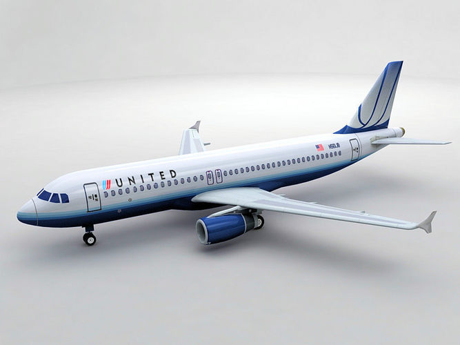 airbus a320 airliner - united airlines 3d model low-poly max obj 3ds dxf stl wrl wrz 1