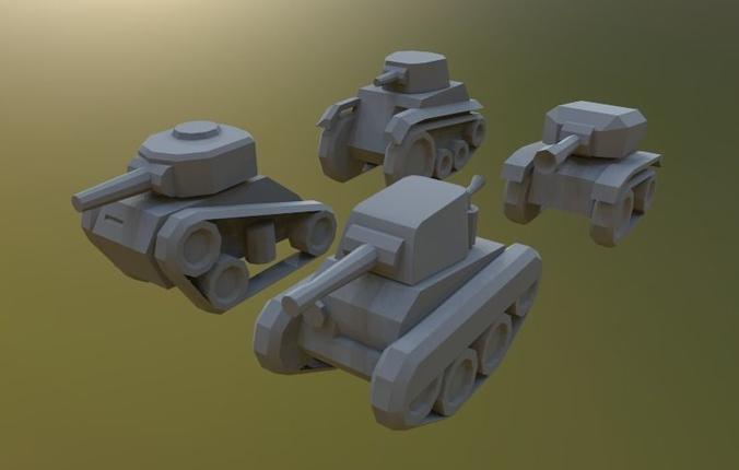 midget lowpoly tanks 3d model low-poly max obj mtl 1