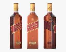 Red Label Whiskey bottle label 3D model