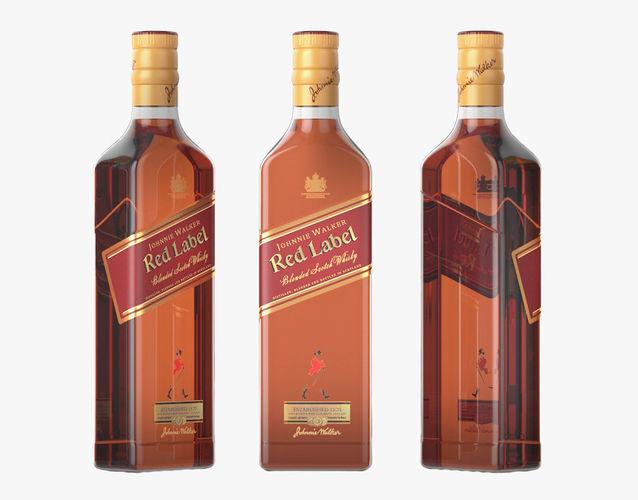 red label whiskey bottle 3d model max obj mtl 1