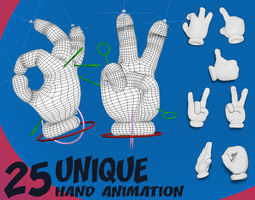 25 Cartoon Hand Animation 3D model