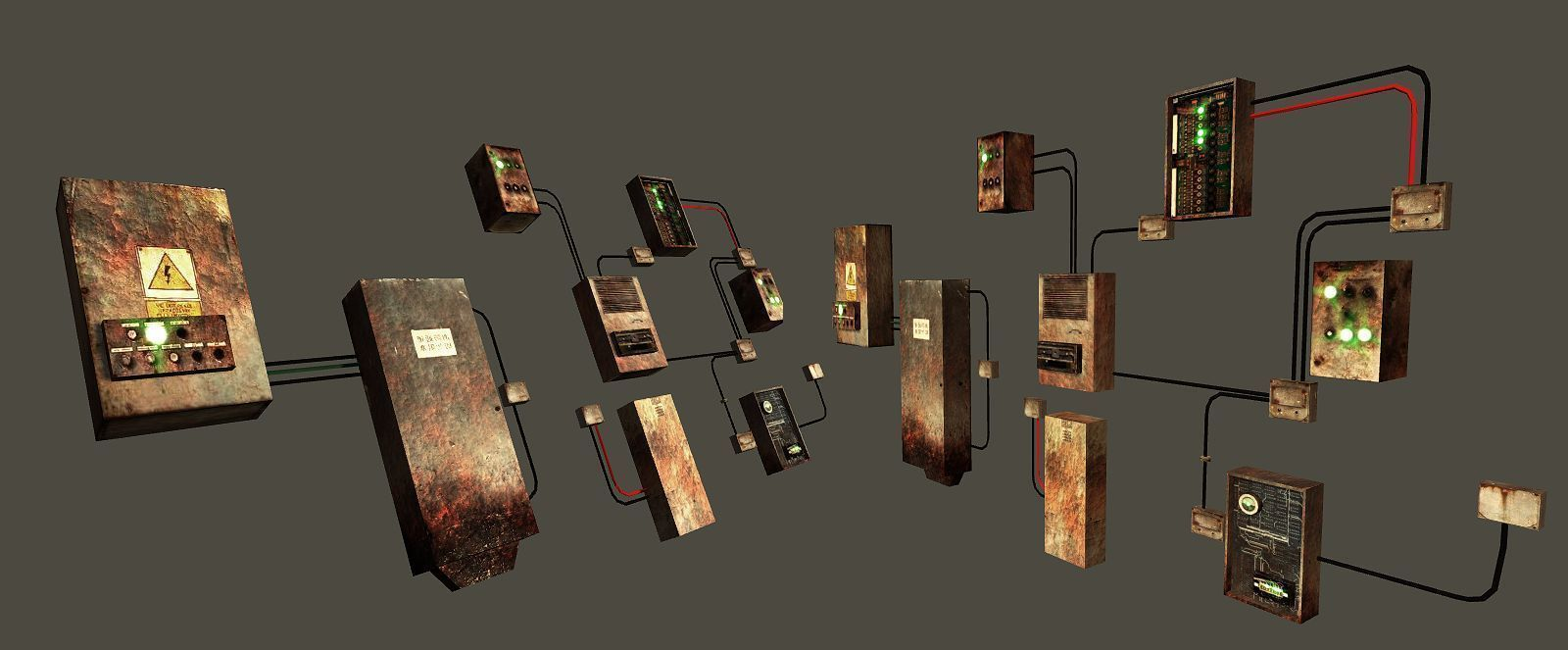 free game ready fusebox collection - clean and rusty 3d model low-poly obj  mtl ...