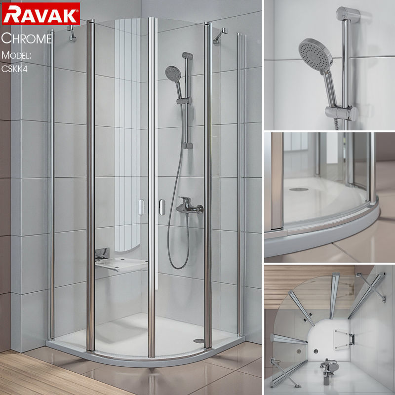 textured 3D Semicircular shower enclosures Ravak Chrome