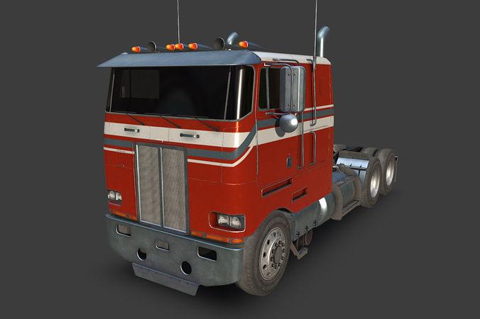 large truck 3d model low-poly max obj mtl fbx tga 1