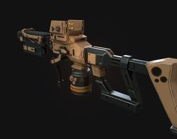 realtime Low poly sci fi assault rifle model