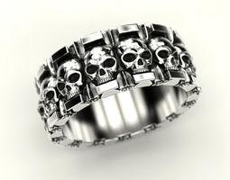 3D printable model Ring skull and stars