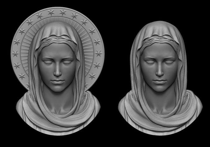 virgin mary pendant 2 versions 3d model obj mtl stl 1