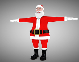 rigged Santa Claus Rigged 3d Model and different Face
