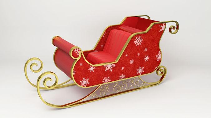 3D Santa Claus Sled - Christmas Sled