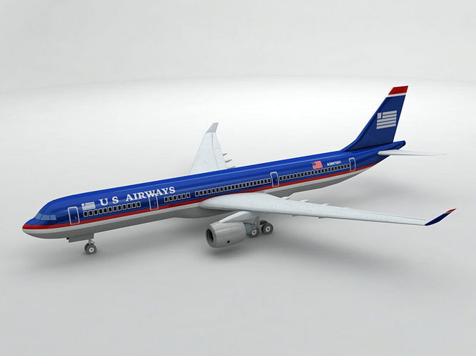 airbus a330 airliner - us airways 3d model low-poly max obj mtl 3ds dxf stl wrl wrz 1