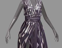 lowpolygon art women summer long black dress 3D asset 2