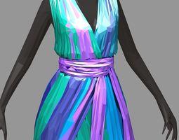 polygonart women summer long colorful dress 3D model 3