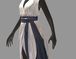 lowpoly art women summer long white dress high 3D asset 1