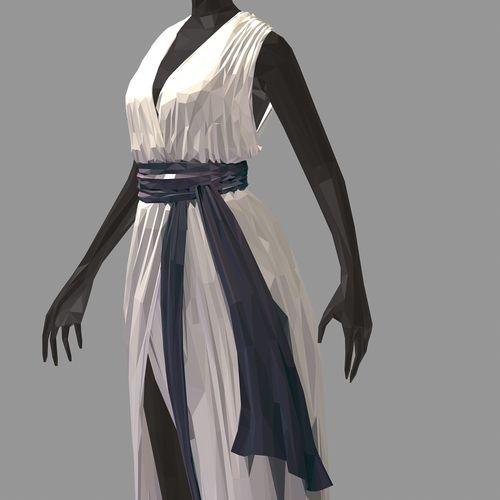 lowpoly art women summer long white dress high heel shoes 3d model max obj mtl fbx ma mb 1