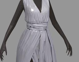 3D asset poly art women summer long grey dress white 2