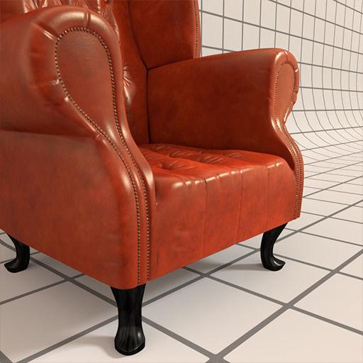 ... Vintage Wingback Chair 3d Model Obj Fbx Blend 2 ...
