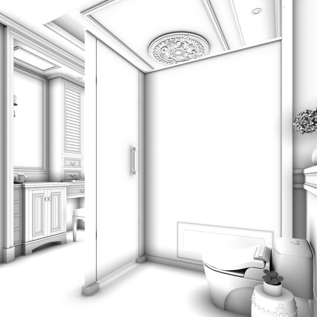 bathroom design complete model 130   CGTrader